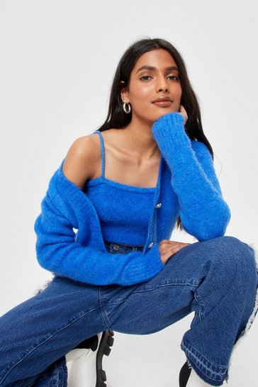 Blue Knitted Bralette and Cropped Cardigan Set