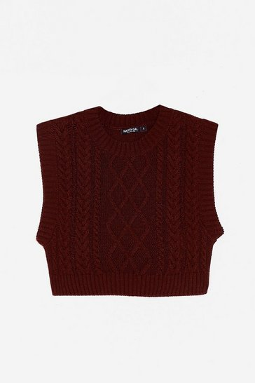 Chocolate Cable Knit Cropped Crew Neck Tank Top
