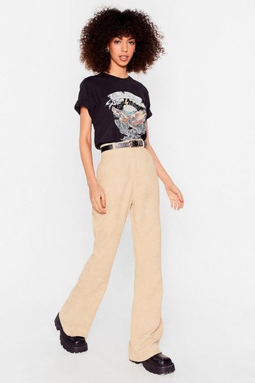 Camel Corduroy High Waisted Flares
