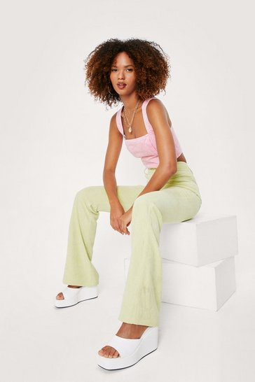 Lime All A-cord High-Waisted Flare Pants