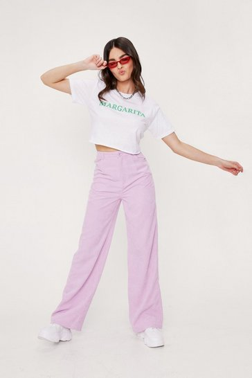 Candy pink Corduroy High Waisted Wide Leg Pants