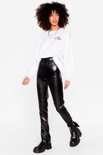 Black Faux Leather Split Hem Straight Leg Pants
