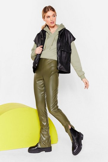 Khaki Take No Slit Faux Leather Straight-Leg Pants