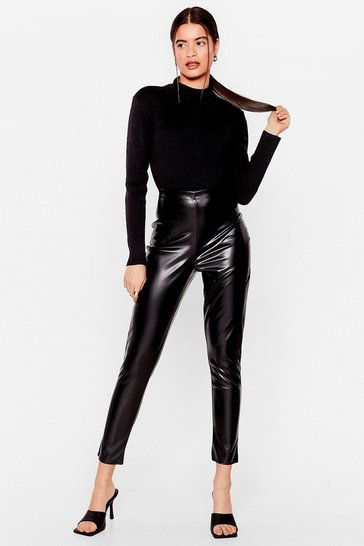 Black In the Tight Direction Faux Leather Leggings