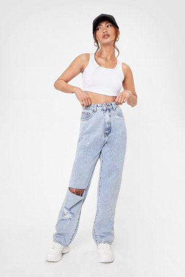 Light blue What Was Shred Petite Acid Wash Jeans