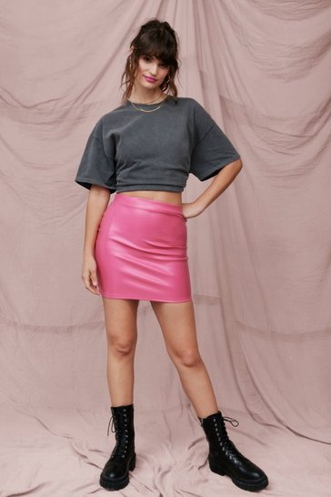 Hot pink Pros and Bodycons Faux Leather Mini Skirt