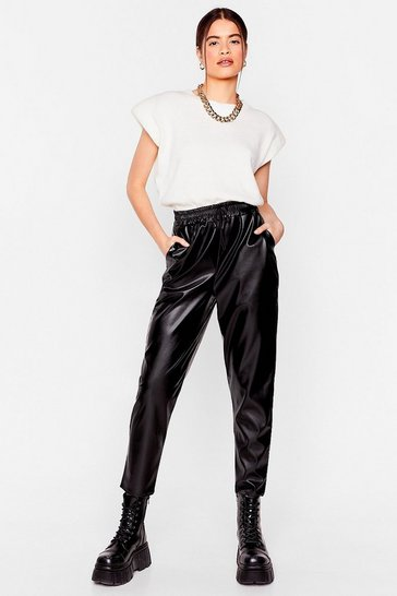 Black Let's Just Run With It Faux Leather Jogger Pants