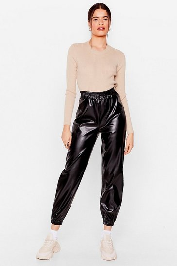 Black We'll Faux Leather Look Back Relaxed Jogger Pants