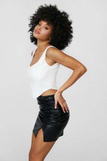 Black We'll Work Slit Out Ruched Mini Skirt