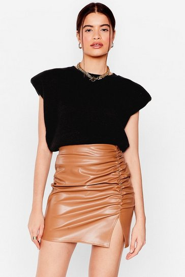Taupe We'll Work Slit Out Ruched Mini Skirt