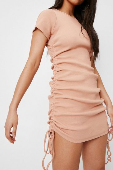 Biscuit Petite Ribbed Ruched Side Bodycon Mini Dress