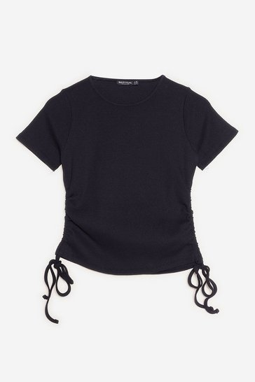 Black Petite Ruched Fitted T-Shirt