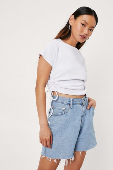 White Petite Ribbed Ruched Side T-Shirt