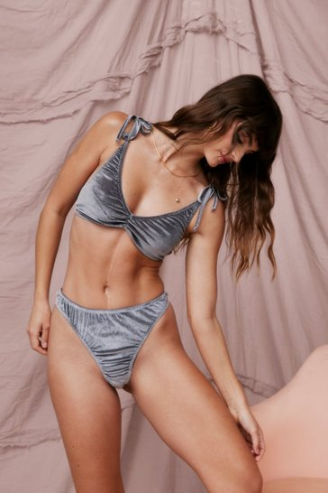 Grey Velvet Tie Shoulder Bralet And Thong Set