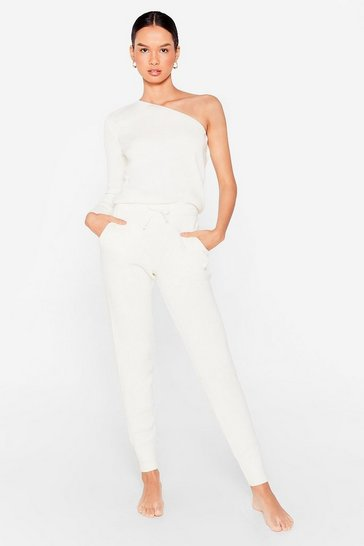 Cream One Shoulder's All It Takes Joggers Lounge Set