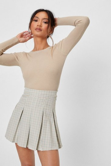Beige Got Knit Good Petite Ribbed Cropped Sweater