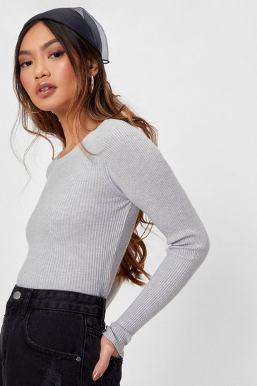 Grey Got Knit Good Petite Ribbed Cropped Sweater