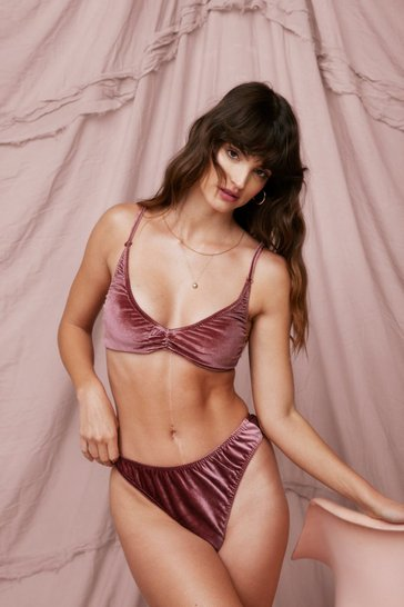 Pink There's No Ruche Velvet Bralette and Panty Set
