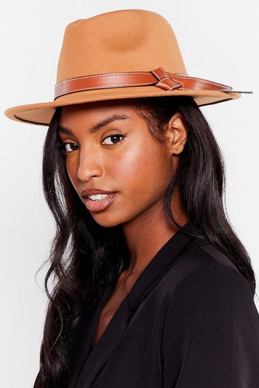 Camel It's Knot Over Faux Wool Fedora Hat