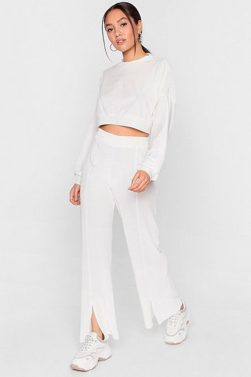Ivory Petite Velour Split Hem Loungewear Set