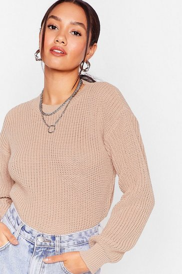 Stone Petite Ribbed Knit Oversized Jumper