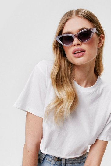Clear Cat-Eye Wish You Well Marble Sunglasses