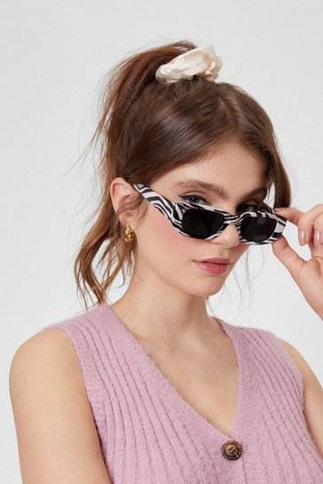 Black See It Through Zebra Rectangle Sunglasses