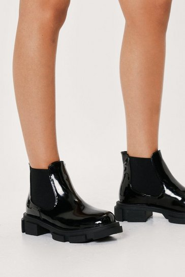 Black Patent Faux Leather Chunky Chelsea Boots