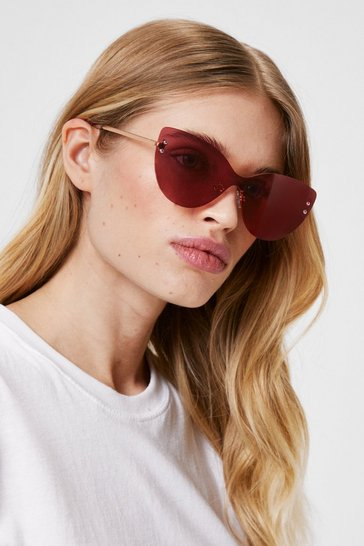 Pink Mirror Me Oversized Cat-Eye Sunglasses