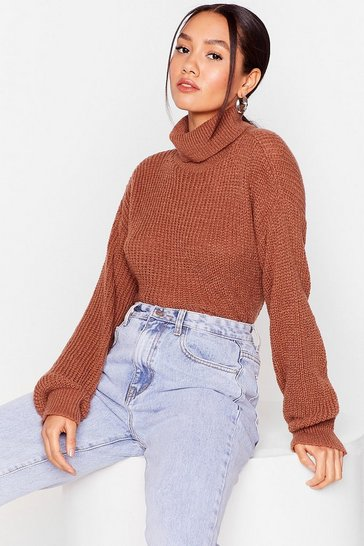 Rust Roll on Baby Petite Turtleneck Sweater