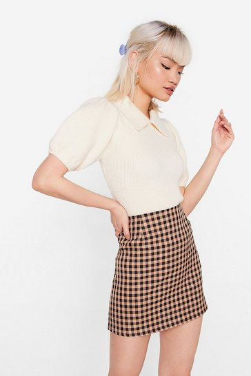 Beige Petite Gingham Check Mini Skirt