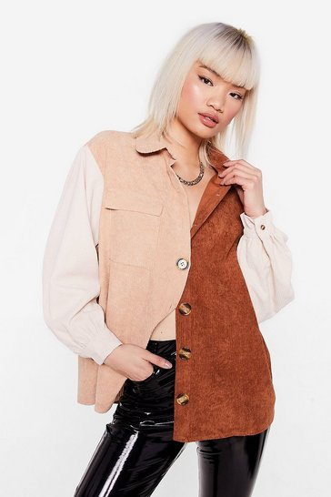 Chocolate Petite Colorblock Corduroy Shirt