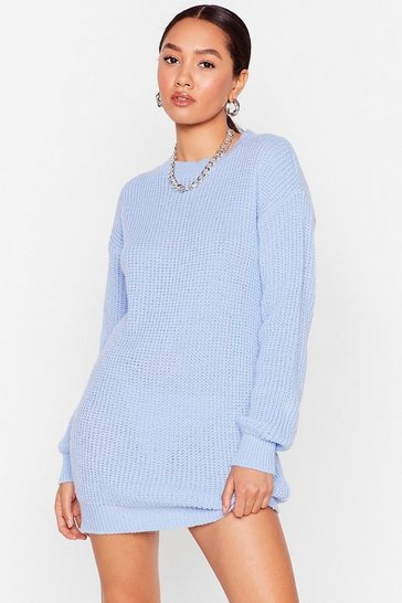Blue Keep Knit to Yo'self Petite Mini Dress