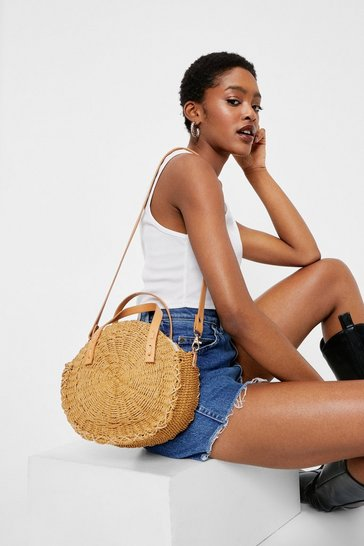 Brown Woven Circular Straw Crossbody Bag
