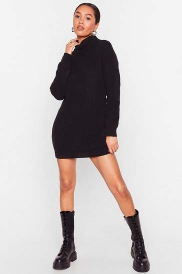 Black Petite Turtleneck Knitted Mini Dress