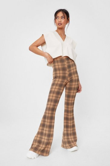Beige Wait in Line Petite Check Flare Pants