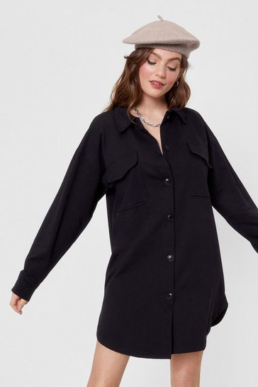 Black Pocket to Work Button-Down Shirt Dress