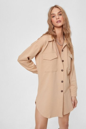 Light stone Pocket to Work Button-Down Shirt Dress