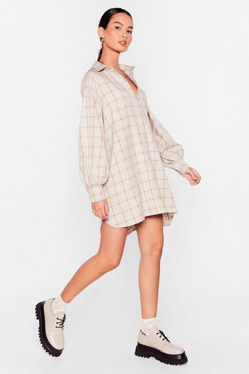 Oatmeal Checkin' Through Our Notes Oversized Shirt Dress