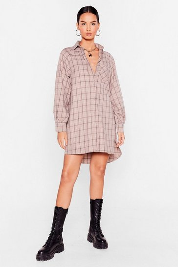 Chocolate It Doesn't Shirt to Try Check Mini Dress