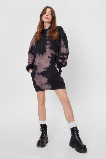 Dark grey Tie Dye Pocket Front Oversized Hoodie Dress