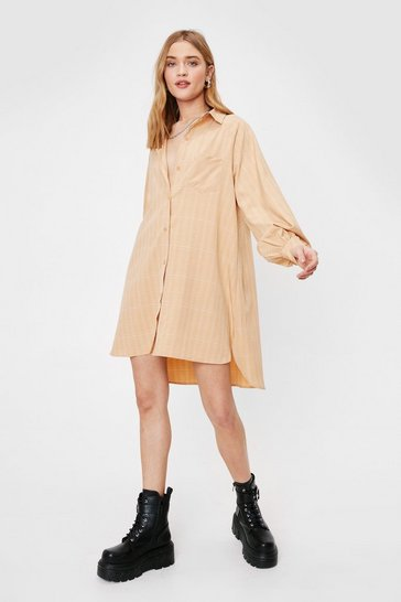 Sand Where Grid You Go Oversized Shirt Dress