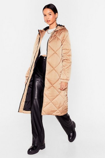 Camel Our Quilt-y Pleasure Longline Padded Coat