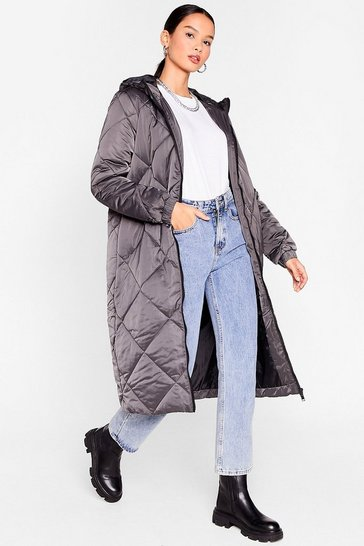 Dark grey Our Quilt-y Pleasure Longline Padded Coat