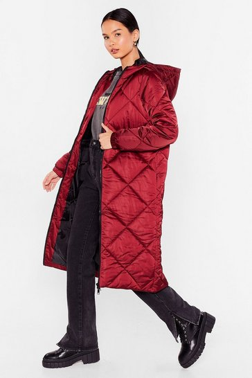 Oxblood Our Quilt-y Pleasure Longline Padded Coat