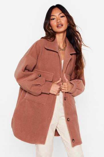 Chocolate Time Wool Tell Oversized Shirt Jacket