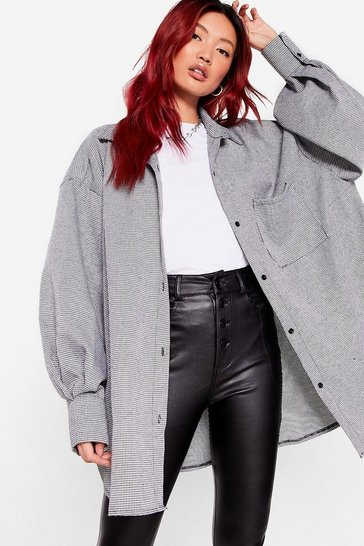 Black Run a Background Check Oversized Shirt Jacket