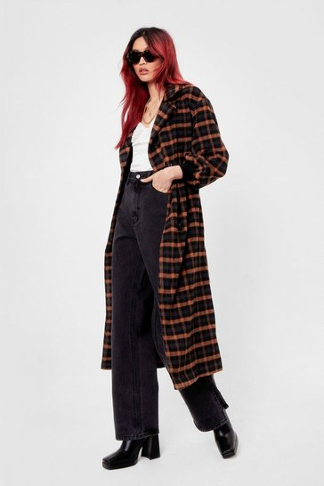 Black Check Faux Wool Longline Belted Coat
