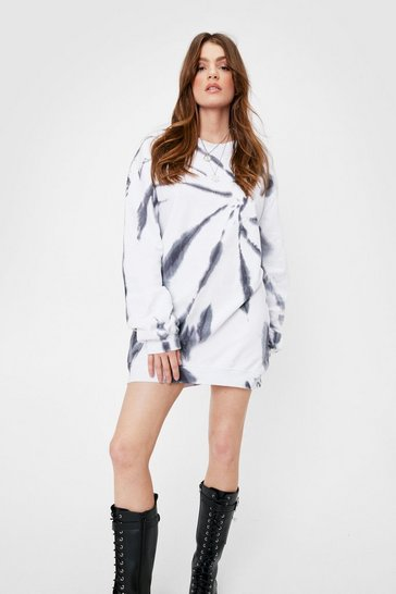 White Tie Dye Washed Sweatshirt Dress