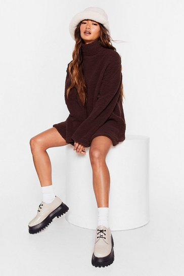Chocolate All Above Borg Turtleneck Sweater Dress
